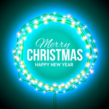 suitable: Christmas greetings in a circular frame of garlands. Round frame with glowing lights of rlilac. Background on sale, discounts, promotions. Seasonal advertising. Suitable for printing, mailing Stock Photo