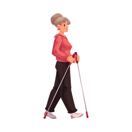 full height: Mature female nordic walker, cartoon style vector illustration isolated on white background. Elder woman doing nordic walking, full height portrait, side view. Female Nordic walker in sports suit