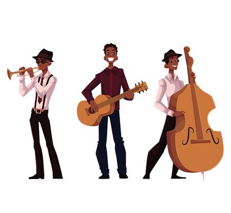 Stel van de knappe Afrikaanse mannelijke trompet, gitaar en contrabas spelers, cartoon vector illustratie op een witte achtergrond. Set van volledige lengte portretten van African American mannelijke muzikanten