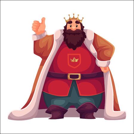 킹 왕관과 맨 틀, 만화 벡터 일러스트 레이 션 흰색 배경에서 격리 입고. 친절하고 행복하며 키 크고 뚱뚱한 오래 된 흰색 킹