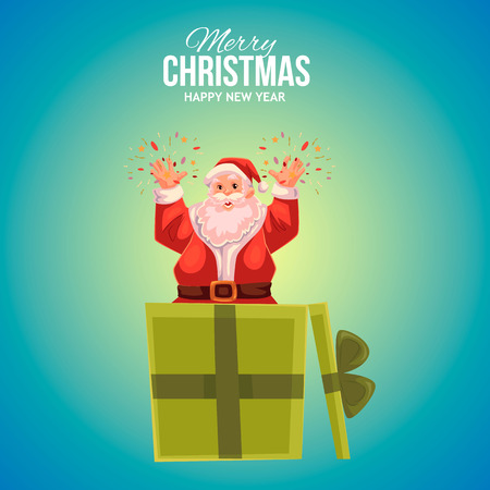 popping: Cartoon style Santa Claus popping out of gift box, Christmas vector greeting card, blue background. Full length portrait of Santa popping out of a present box, greeting card template for Christmas eve