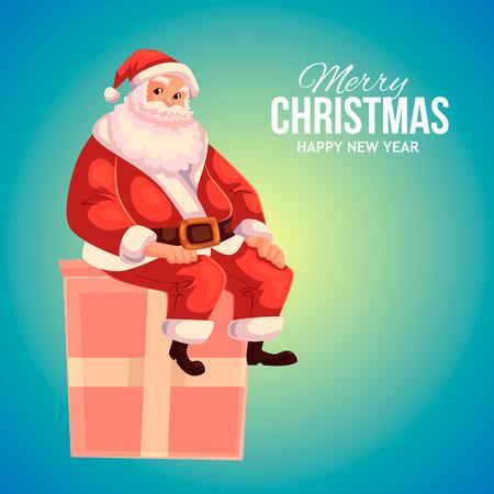 Cartoon style Santa Claus sitting on a gift box, Christmas vector greeting card. Full length portrait of Santa sitting on a present box on blue background, greeting card template for Christmas eve