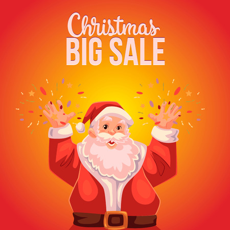 declaring: Cartoon style Santa Claus making fireworks, Christmas vector sale banner, red background, text at the top. Half length portrait of Santa declaring a sale, Christmas sale banner template