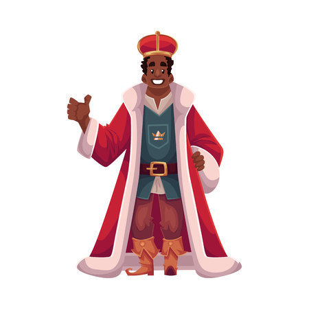 king wearing crowns and mantle, cartoon vector illustration isolated in white background. king - tall and slim, young black skinned, kind and happy 矢量图像