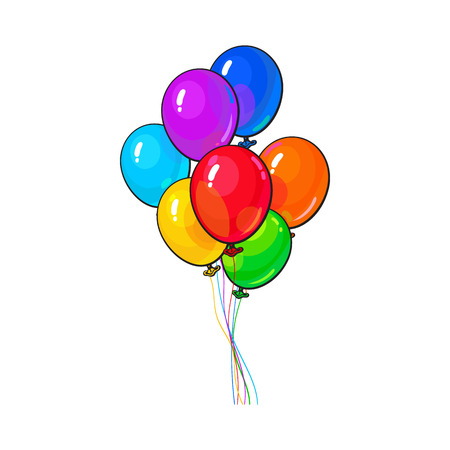 filled: Bunch of several bright and colorful balloons, cartoon vector illustration isolated on white background. several of red, yellow and green balloons, birthday, party carnival decoration elements Illustration