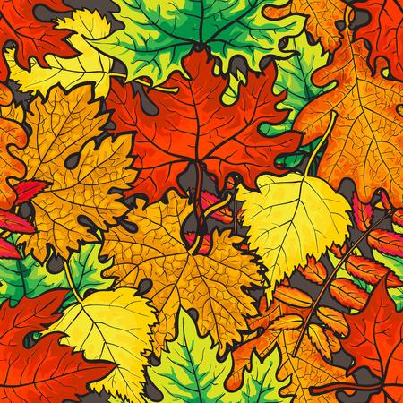 Modello senza cuciture delle foglie di autunno luminose e variopinte, illustrazione di vettore di stile del fumetto. Foglie dorate seamless per tessuti, stampe, sfondi, involucro e carte Vettoriali