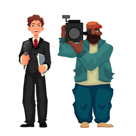 cameraman: Beautiful male journalist, reporter and operator, cartoon style illustration isolated on white background. Full height cameraman and reporter, journalist taking interview