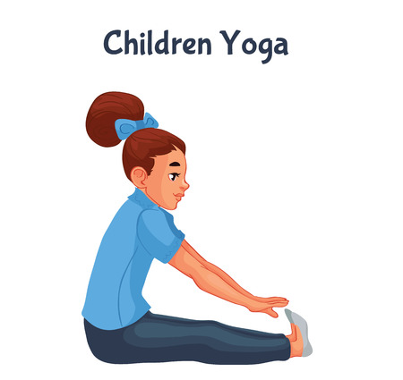 yoga girl: brown haired girl doing yoga, cartoon style illustration isolated on white background. Kid yoga, little girl in yoga asanas, healthy lifestyle