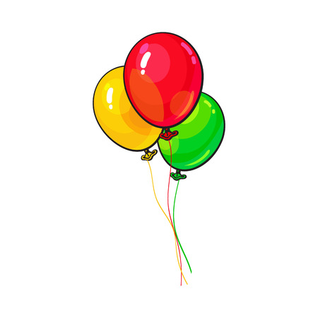 party cartoon: Bunch of three bright and colorful balloons, cartoon vector illustration isolated on white background. Trio of red, yellow and green balloons, birthday, party carnival decoration elements