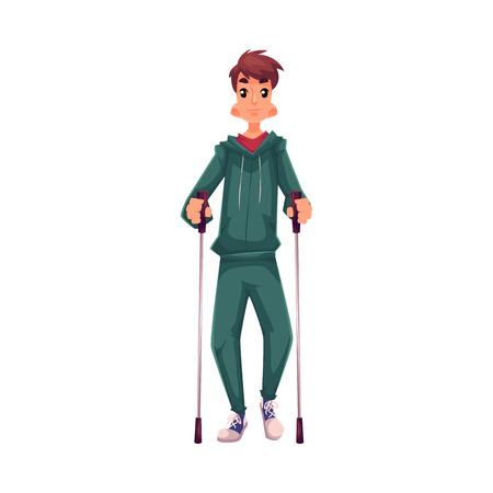 Male nordic walker, cartoon style vector illustration isolated on white background. Young man going in for nordic walking, full height portrait, side view. Male Nordic walker in sports suit Çizim