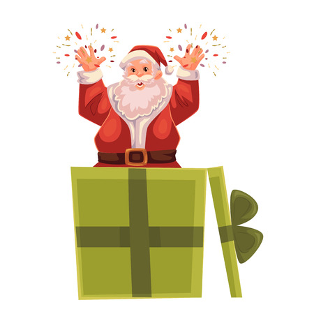 old man portrait: Santa Claus popping out of a Christmas gift box, cartoon style vector illustration isolated on white background. Full length portrait of Santa popping out of present box, Christmas decoration element Illustration