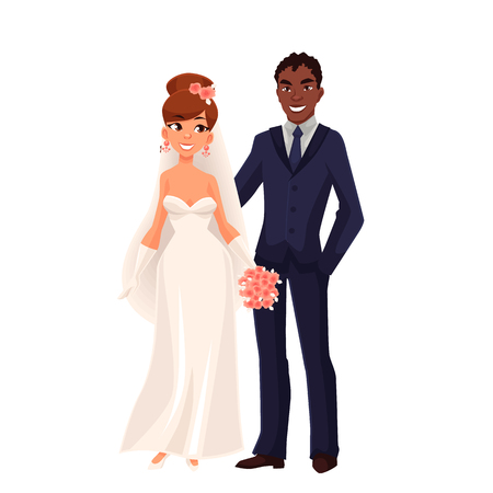 mixed family: Caucasian bride and African groom, just married couple, cartoon vector illustration isolated on white background. White bride and black groom, mixed couple, wedding ceremony