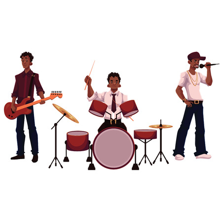 full height: Set of handsome African male singer, drummer and guitar player, cartoon vector illustration isolated on white background. Set of full height portraits of African American male musicians