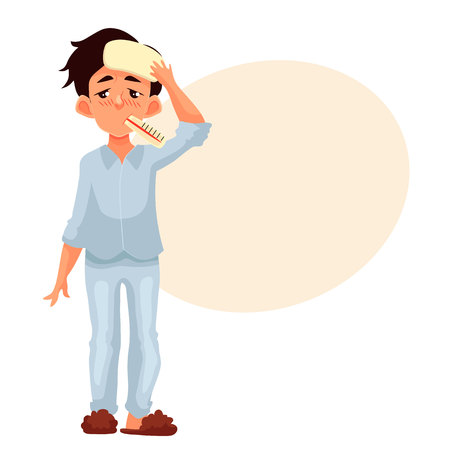 Little boy having a cold with thermometer in his mouth, cartoon style illustration isolated on white background. Blond haired boy pressing compress to his forehead, winter flu season Stock Photo