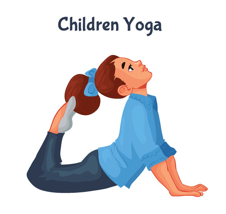 brown haired girl doing yoga, cartoon style illustration isolated on white background. Kid yoga, little girl in yoga asanas, healthy lifestyle