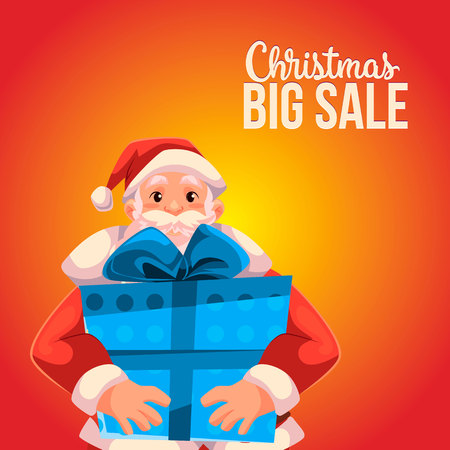 Cartoon style Santa Claus holding a big box, Christmas vector sale banner, red background, text at the top. Half length portrait of Santa holding a large blue box, Christmas sale banner template