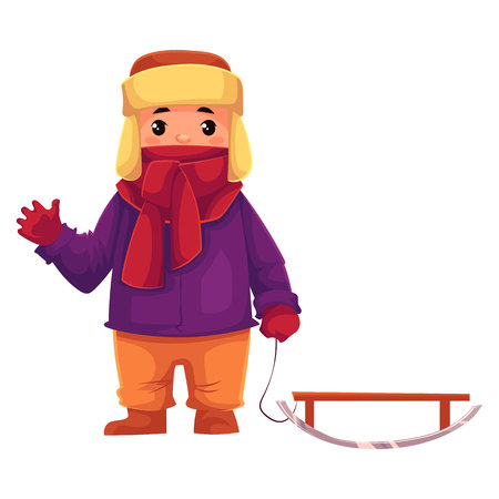 toboggan: Little boy in winter clothes pulling a sled, cartoon style vector illustration isolated on white background. Little kid in big scarf and warm winter clothes with a toboggan