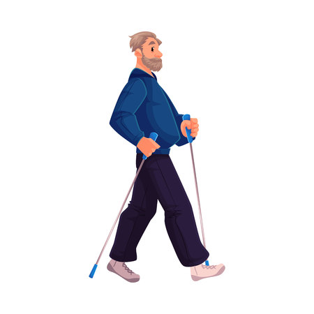 Mature male nordic walker, cartoon style vector illustration isolated on white background. Elder man doing nordic walking, full height portrait, side view. Elder male Nordic walker in sports suit Çizim