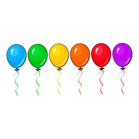 Satz helle und bunte Ballone, Karikaturvektorillustration lokalisiert auf weißem Hintergrund. Linie von mehrfarbigen Ballonen, Geburtstag, Parteikarikatur-Dekorationselemente Standard-Bild - 63579032