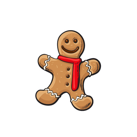 Traditional Christmas gingerbread, cartoon illustration isolated on white background. Xmas ginger man, traditional festive cookie, Christmas decoration element Illustration
