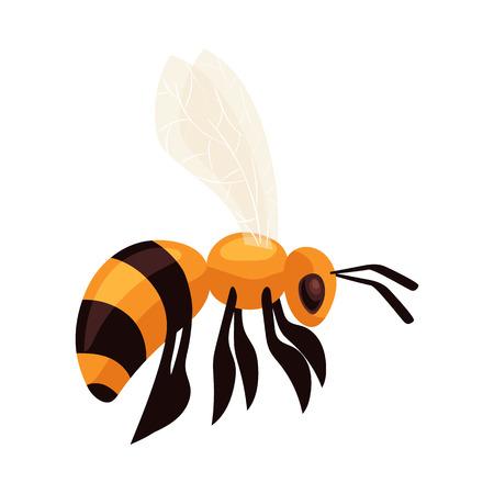 Abeja de vuelo, ilustración vectorial estilo de dibujos animados aislado en el fondo blanco. Dibujo realista de un abejorro volar a la colmena, icono apiario