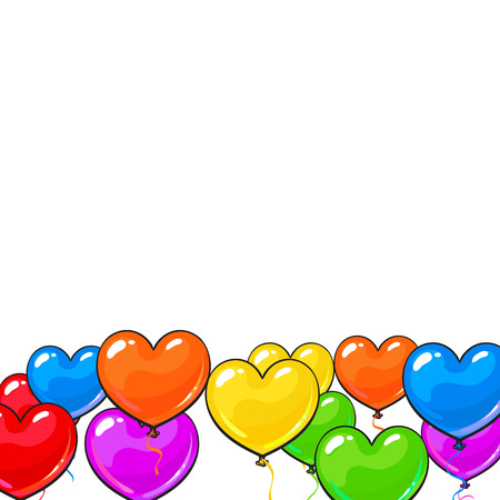 bunch of hearts: Greeting card template with bright and colorful heart shaped balloons, cartoon vector illustration isolated on white background. Multicolored heart balloons forming a frame, balloon-filled from below