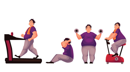 sit ups: Fat man doing sport exercises, cartoon vector illustration isolated on white background. Obese, fat, chubby man doing treadmill walking, cycling, sit ups and dumbbell exercises. Fat man getting fit