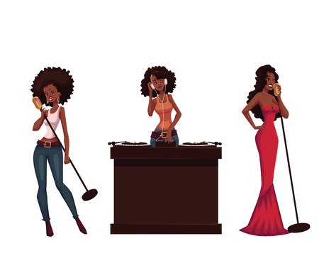 Beautiful African women singers and dj, cartoon vector illustration isolated on white background. Set of full height portraits of African American women singing with microphone and at the turntable