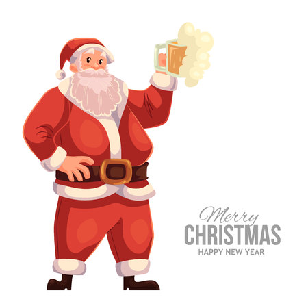 christmas eve: Cartoon style Santa Claus raising a beer glass, Christmas vector greeting card. Full length portrait of Santa with a glass of beer, greeting card template for Christmas eve Illustration