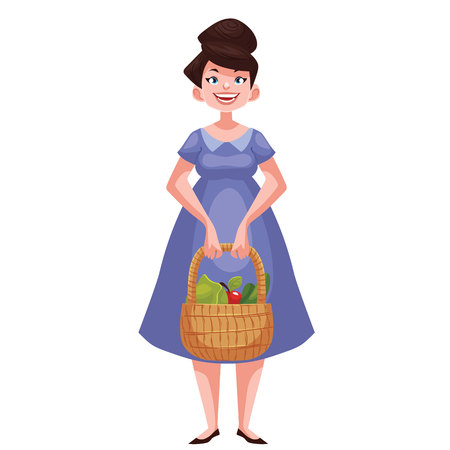 freshly: Caucasian woman standing and holding baskets of freshly harvested fruits and vegetables, cartoon style illustration isolated on white background. Happy woman gardening concept