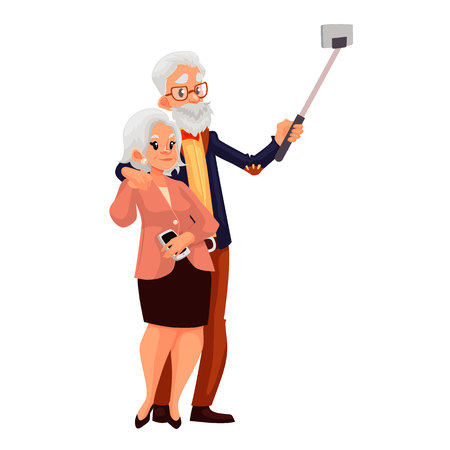 using phone: Elder grey-haired caucasian couple taking selfie, cartoon style illustration. Older casually dressed man and woman taking pictures of themselves using phone and monopod