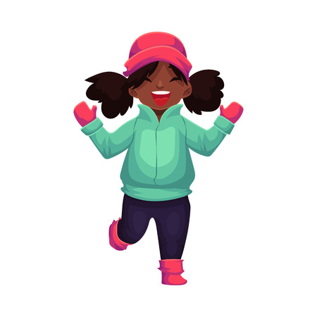 Happy little black skinned girl in winter clothes, cartoon style vector illustration isolated on white background. Little african girl in warm winter clothes - green down jacket and pink hat
