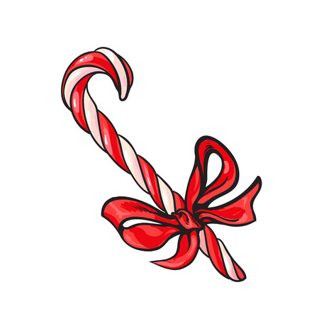 Christmas candy cane with red bow, cartoon vector illustration isolated on white background. Traditional striped red and white Xmas candy cane with a red ribbon, Christmas decoration element Illustration