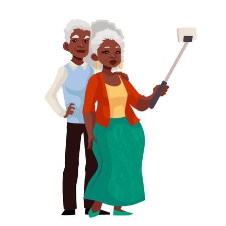 using phone: Elder grey-haired african american couple taking selfie, cartoon style illustration. Older casually dressed black skinned man and woman taking pictures of themselves using phone and monopod
