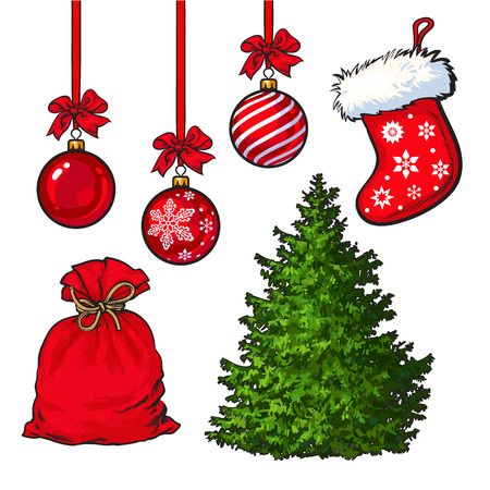 Set of Christmas tree, red decoration balls, boot and sack, cartoon vector illustration isolated on white background. Fluffy Christmas tree, traditional red boot, sack of presents and hanging balls Çizim