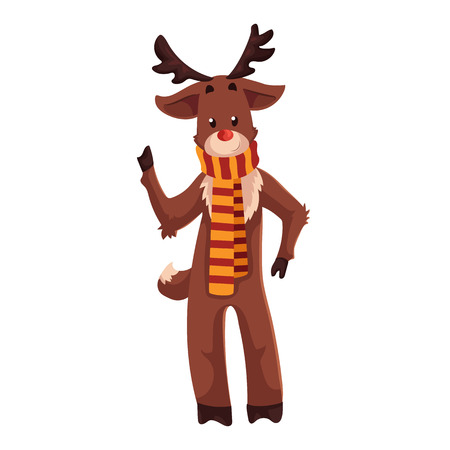 rudolf: Santas red nosed reindeer Rudolf standing in a striped scarf, cartoon vector illustration isolated on white background. Drawing of reindeer, traditional Xmas character, Christmas decoration element Illustration