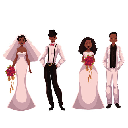 african american couple: African American just married couple, set of brides and grooms, cartoon vector illustration isolated on white background. Two African brides and two grooms in fashionable clothing getting married