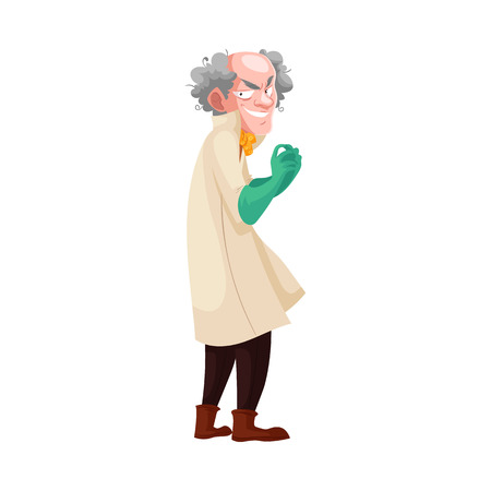mad: Mad professor with grey bushy hair in lab coat and green rubber gloves, cartoon vector illustration isolated on white background. Crazy laughing white-haired scientist, stereotype of scientist