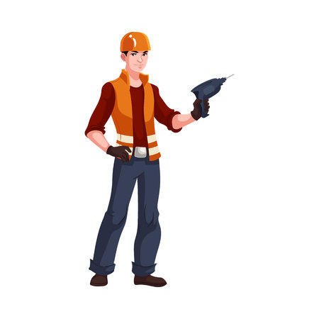 vest in isolated: Full length portrait of young and handsome industrial worker, cartoon style vector illustration isolated on white background. Builder, repairman, electrician in orange helmet and vest with a drill Illustration