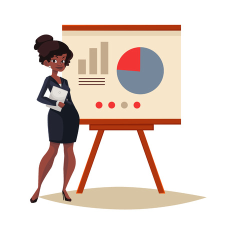 African Businesswoman giving presentation with a board, sketch style illustration isolated. Confident black female manager and flip chart with pie graph and infographic elements