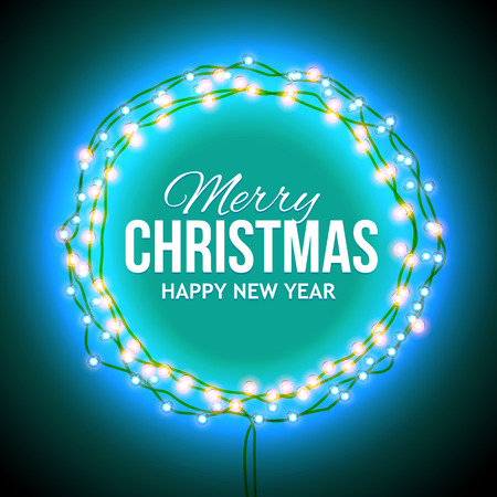 Christmas greetings in a circular frame of garlands. Round frame with glowing lights, words Merry Christmas. Background on sale, discounts, promotions in the winter. Seasonal advertising.