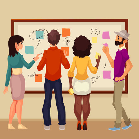 it professional: Young creative business people brainstorming ideas at the board, sketch style illustration. Multiethnic group of young people hold a brainstorm standing at the board and using sticky notes Stock Photo