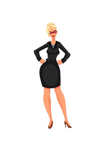 superheroine: Business woman in superhero mask, cartoon style illustration isolated on white background. Super power girl in business suit and heels, businesswoman as superhero concept