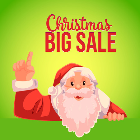 Cartoon style Santa Claus pointing up, Christmas vector big sale banner, green background, text at the top. Half length portrait of Santa pointing up, Christmas sale banner template