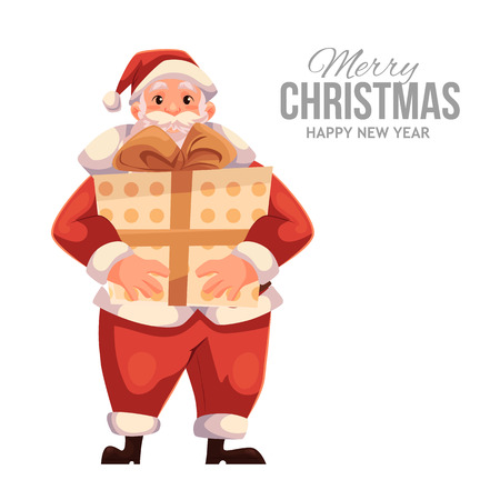 Cartoon style Santa Claus holding a big gift box, Christmas vector greeting card. Full length portrait of Santa holding a large present box, greeting card template for Christmas eve
