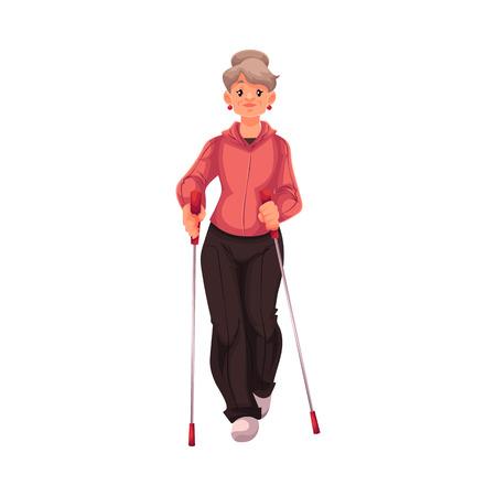 Rijpe vrouwelijke nordic walker, cartoon stijl vector illustratie op een witte achtergrond. Oudere vrouw doen nordic walking, volledige hoogte portret, zijaanzicht. Vrouw Nordic walker in de sport pak Vector Illustratie