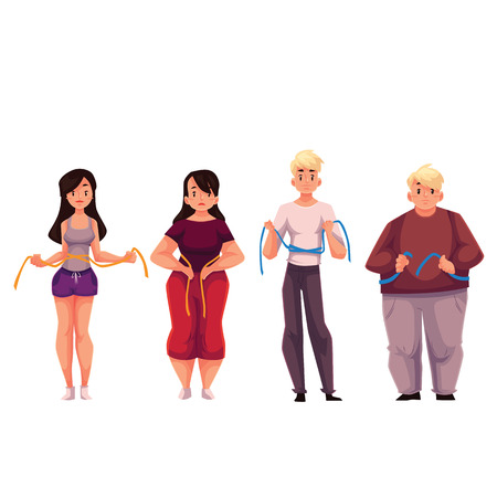 Fit and fat men and women measuring themselves with a tape, cartoon vector illustration isolated on white background. Man and women with a measuring tape, upset with the weight loss results Ilustração