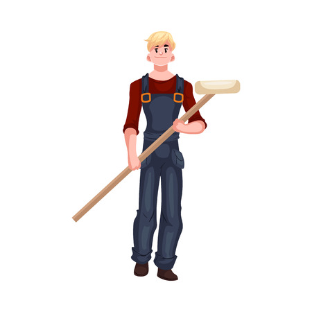 house painter: Full length portrait of male house painter holding a paint roller, cartoon style vector illustration isolated on white background. Young and handsome house painter in overalls with a paint roller