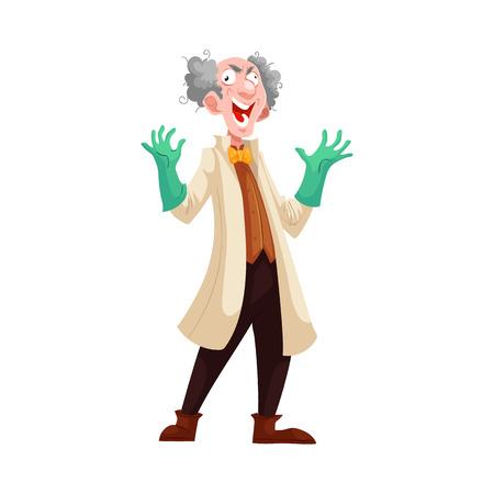 estereotipo: profesor loco con el pelo gris espeso en bata de laboratorio y guantes de goma verde, ilustración vectorial de dibujos animados aislado en el fondo blanco. Risa loca científico de pelo blanco, estereotipo del científico Vectores