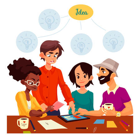 Young creative business people brainstorming ideas in office, sketch style illustration. Multiethnic group of young people having a brainstorm at the table. Teamwork, planning, creative process